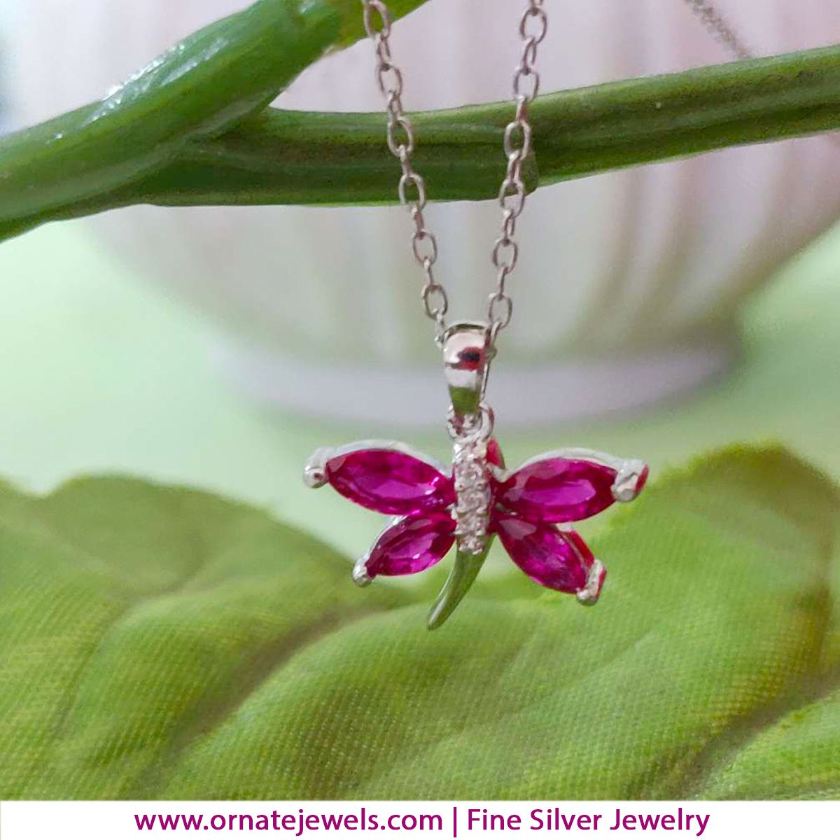 Buy Silver Ruby Butterfly Pendant with Chain Online