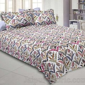 Buy Geometric Floral Print Cotton Double Bed Sheets