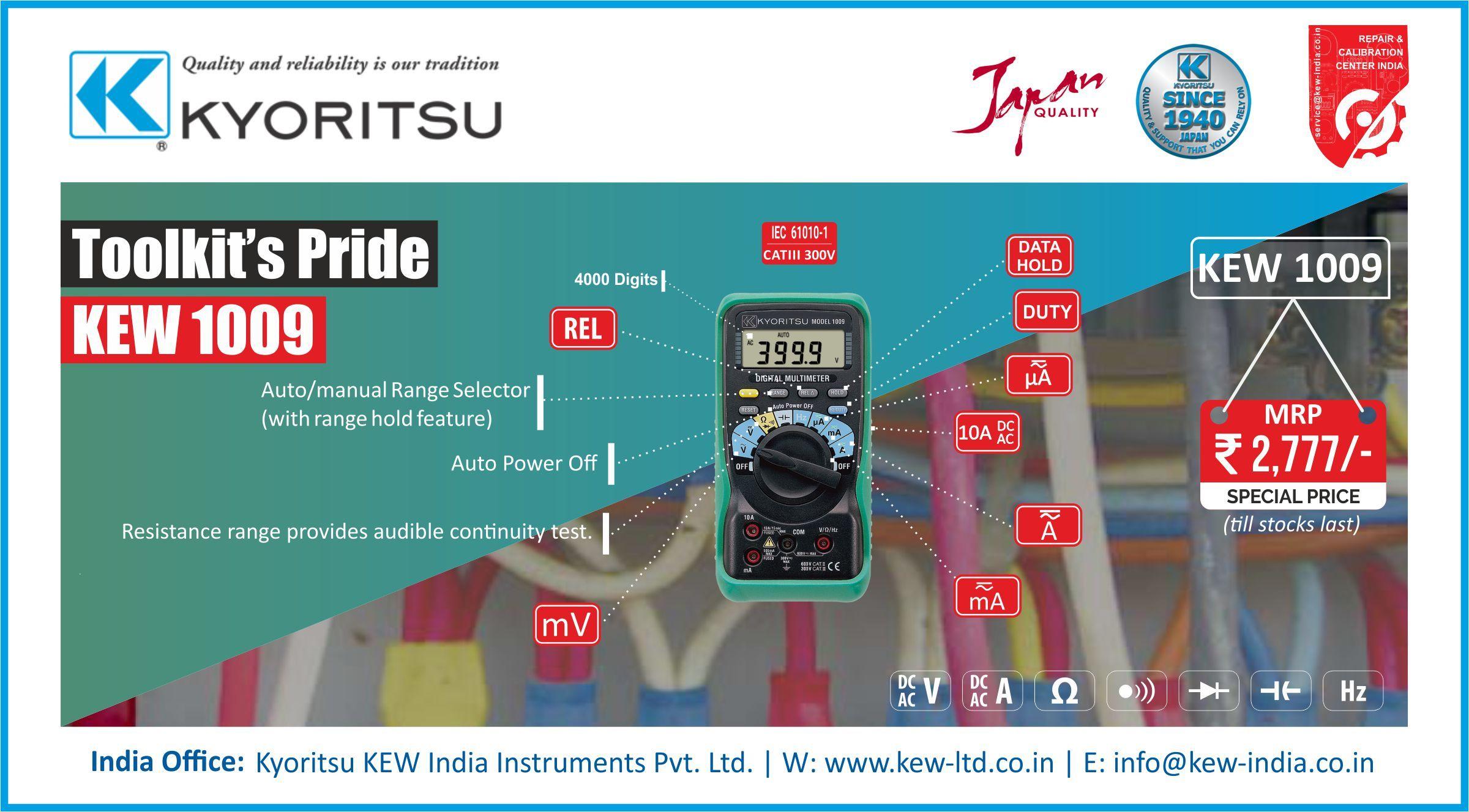 Kyoritsu Digital Multimeter 400mV-600V KEW-1009