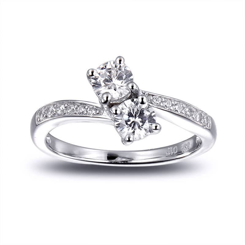 Buy 925 Pure Silver Two solitaire ring at ornate jewels