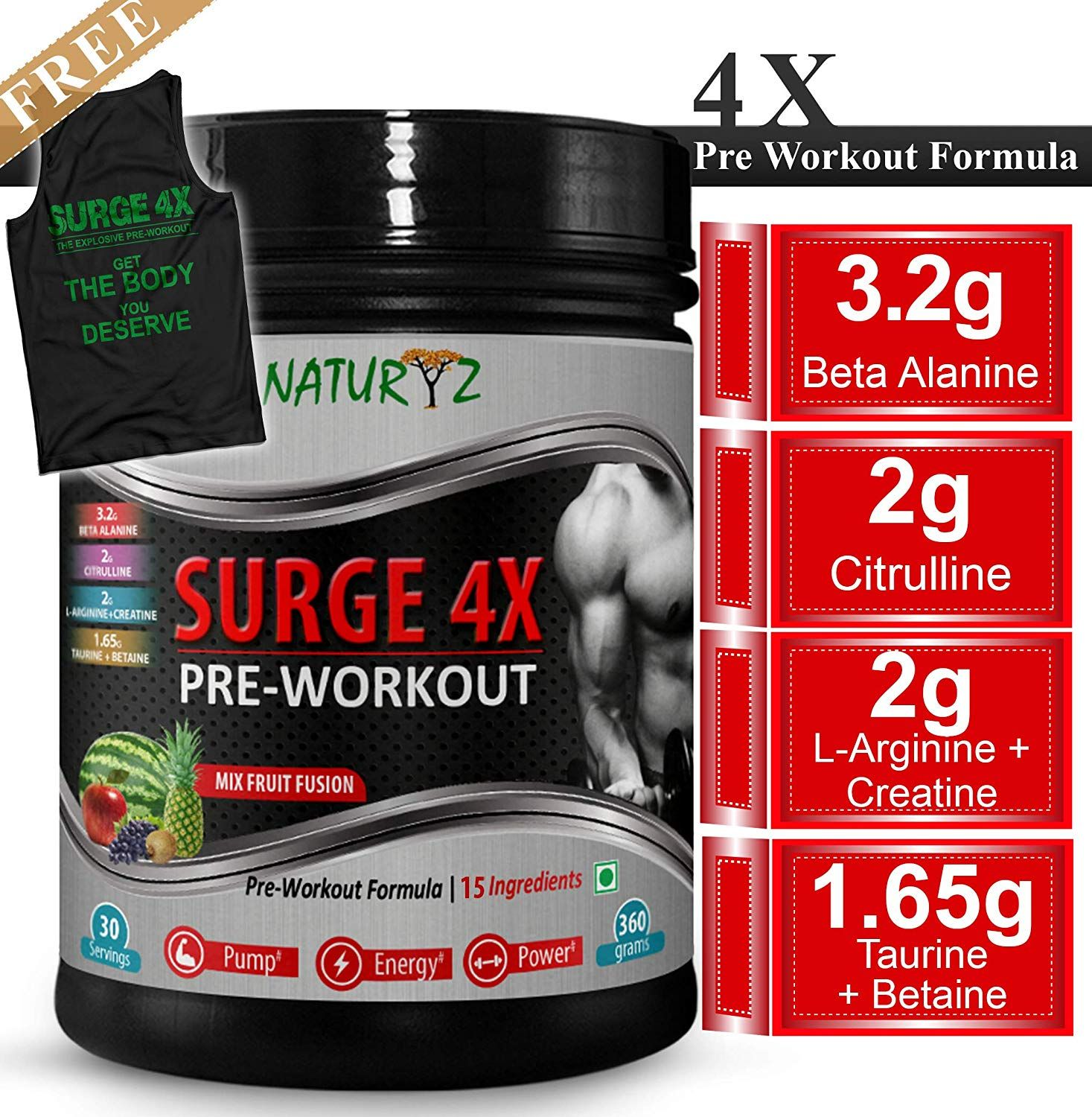 NATURYZ Surge 4x Advanced Pre-Workout Formula 360 gm