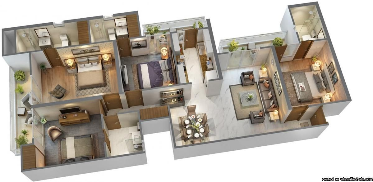 3 BHK and 4 BHK flats in Siddharth Vihar