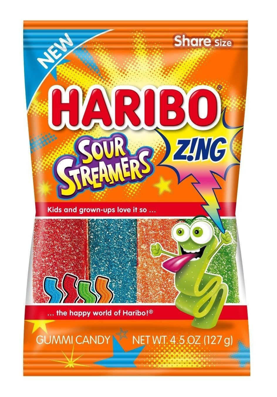 Haribo Zing Sour Steamers 128g (4.5oz) (Box of 12) |American Sweets UK