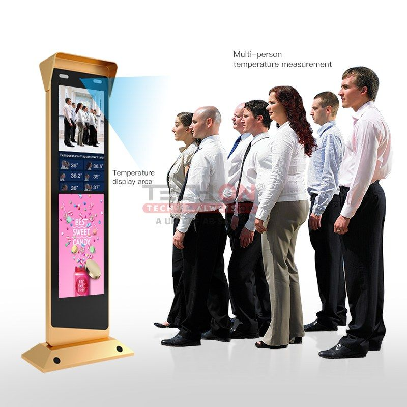TECHON AIR TEMPERATURE FLOOR STAND INTERACTIVE DIGITAL SINGNAGE AND DISPLAYS ADVERTISING PLAYERS WITH FACE RECOGANATION