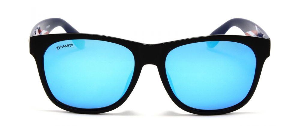 Black Front & Blue Temples with Blue Mirror Polarized Lenses - Unisex Wayfarer Sunglass