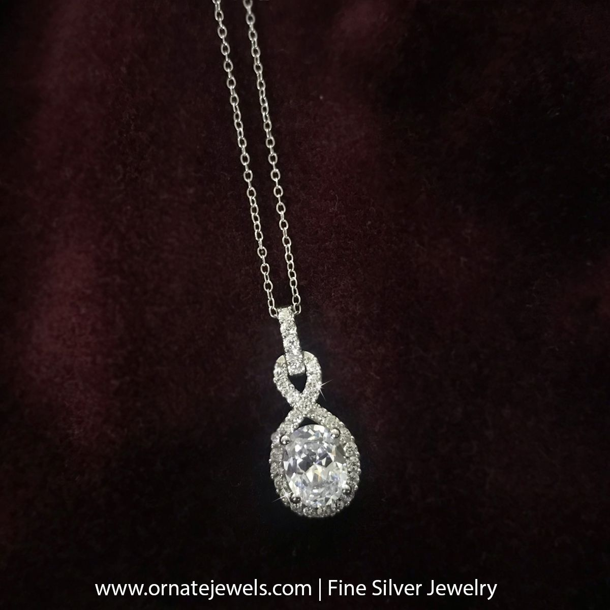 Shop American Diamond Infinity Pendant in silver for women and girls