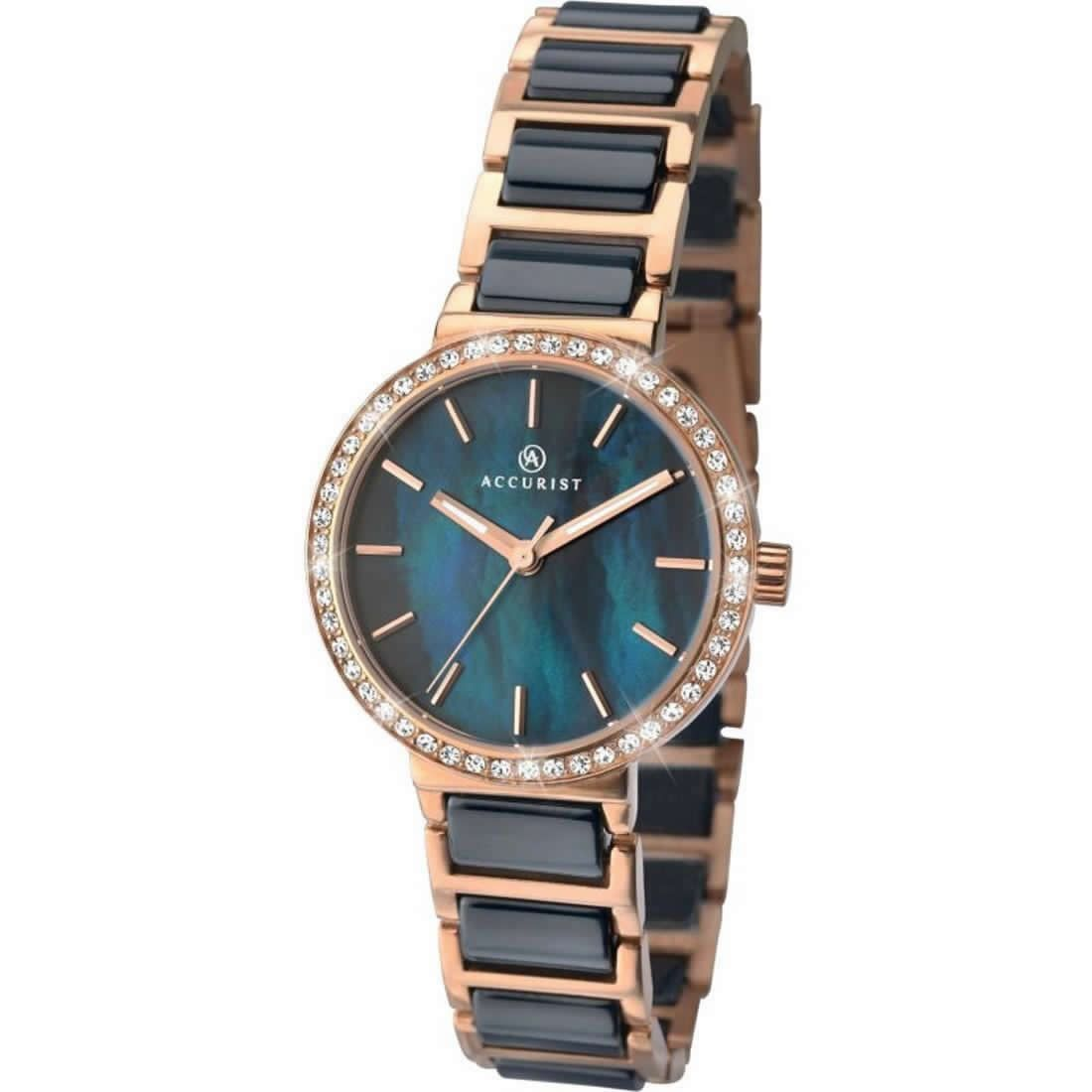 Accurist Ladies Fashion Blue Face Diamante Bracelet Watch 8087