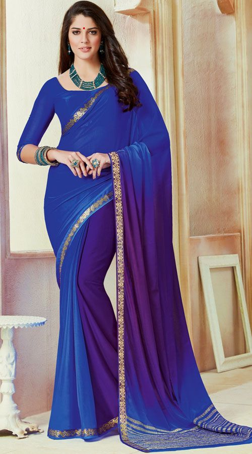 Beautiful Chiffon Blue Bridesmaid Saree With Double Blouse