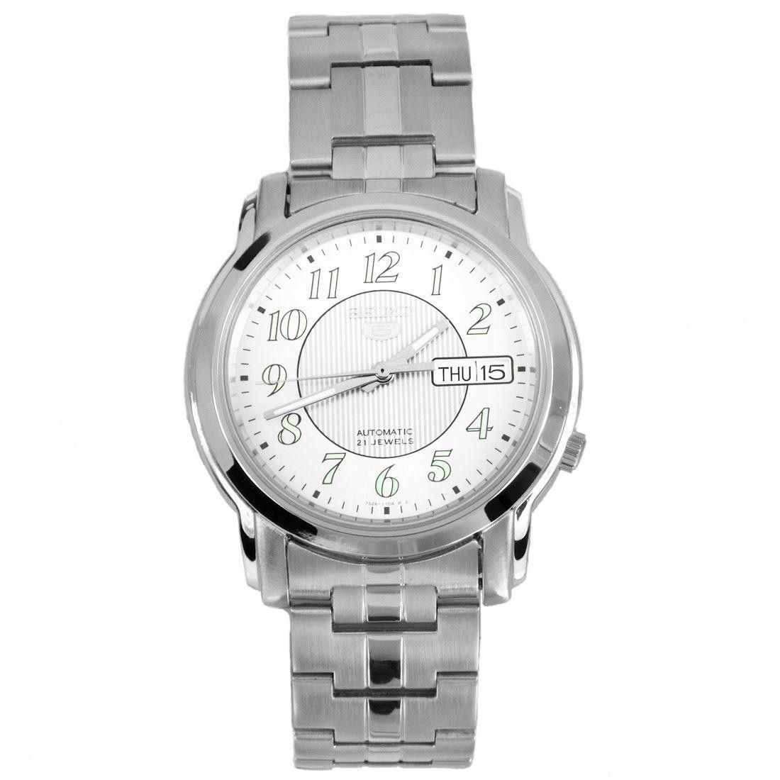 Seiko 5 Men Silver Stainless Steel Automatic Watch White Dial SNKL89K1
