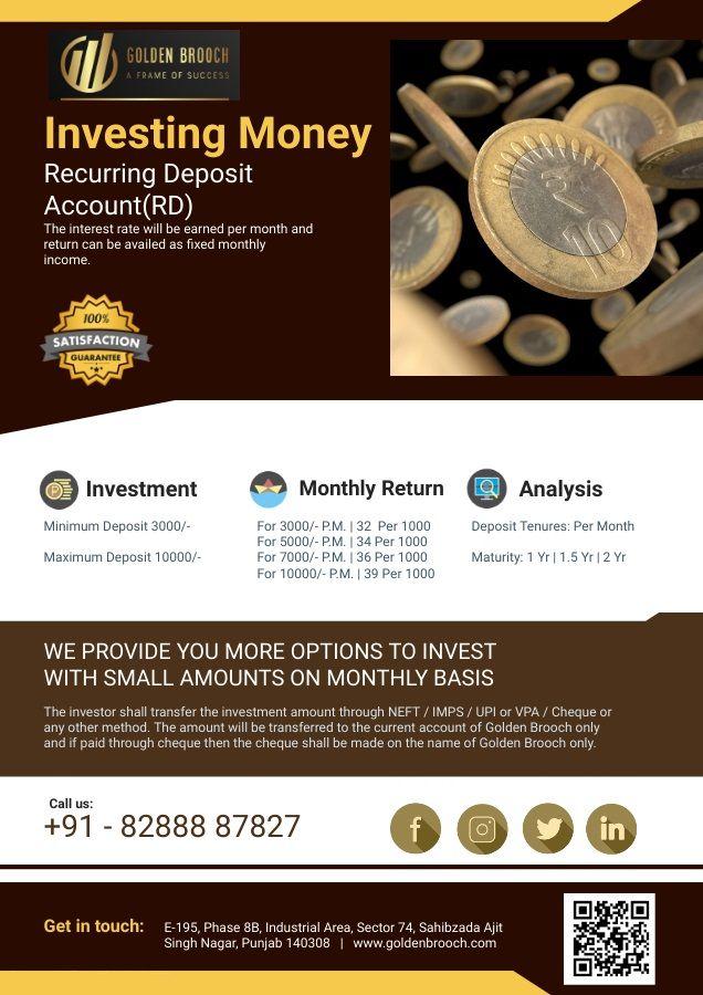 Recurring Deposit   Saving Scheme   Golden Brooch - 8288887827