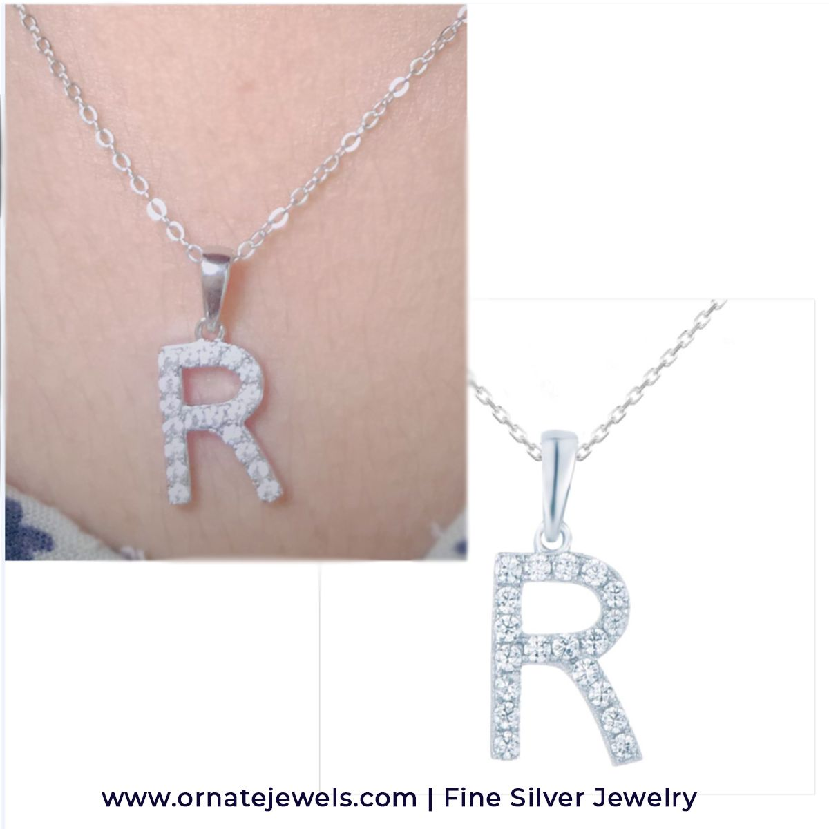 Buy Silver R latter Pendant for Girls as Friendship Day Gift